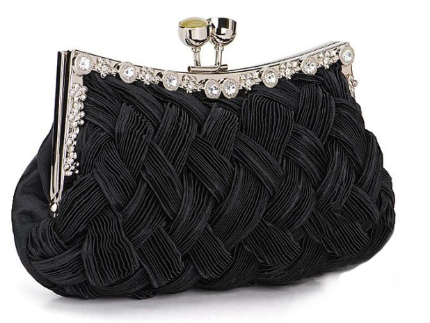 2254BKBraided Evening Clutch Purse - Black