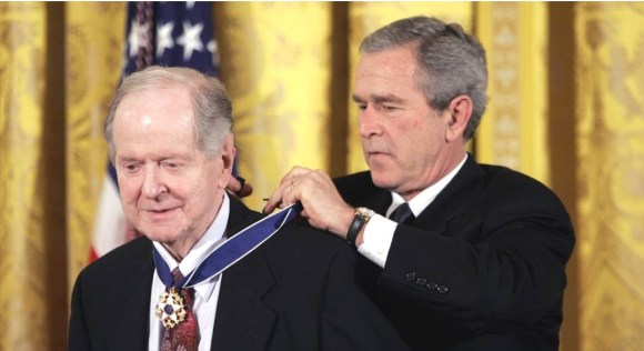 Receiving the Presidential Medal of Freedom, 2005.