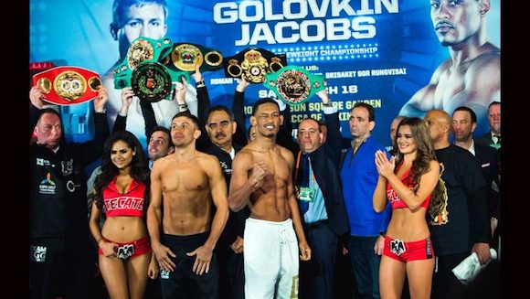 Golovkin (L) and Jacobs at their weigh-in