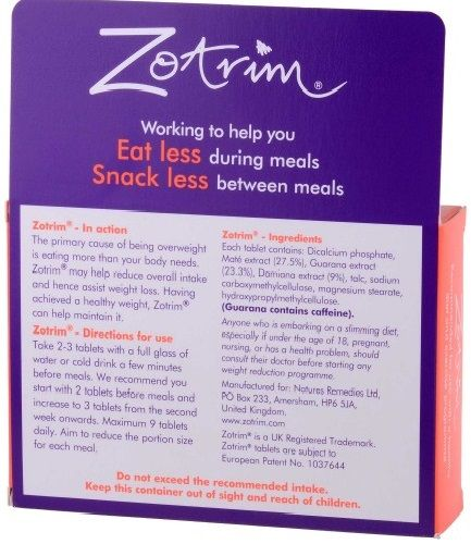 zotrim ingredients label