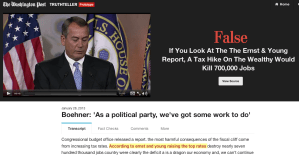 In one of the prototype videos, House Speaker John Boehner makes a false claim that raising taxes on the wealthiest Americans would destroy 700,000 jobs.