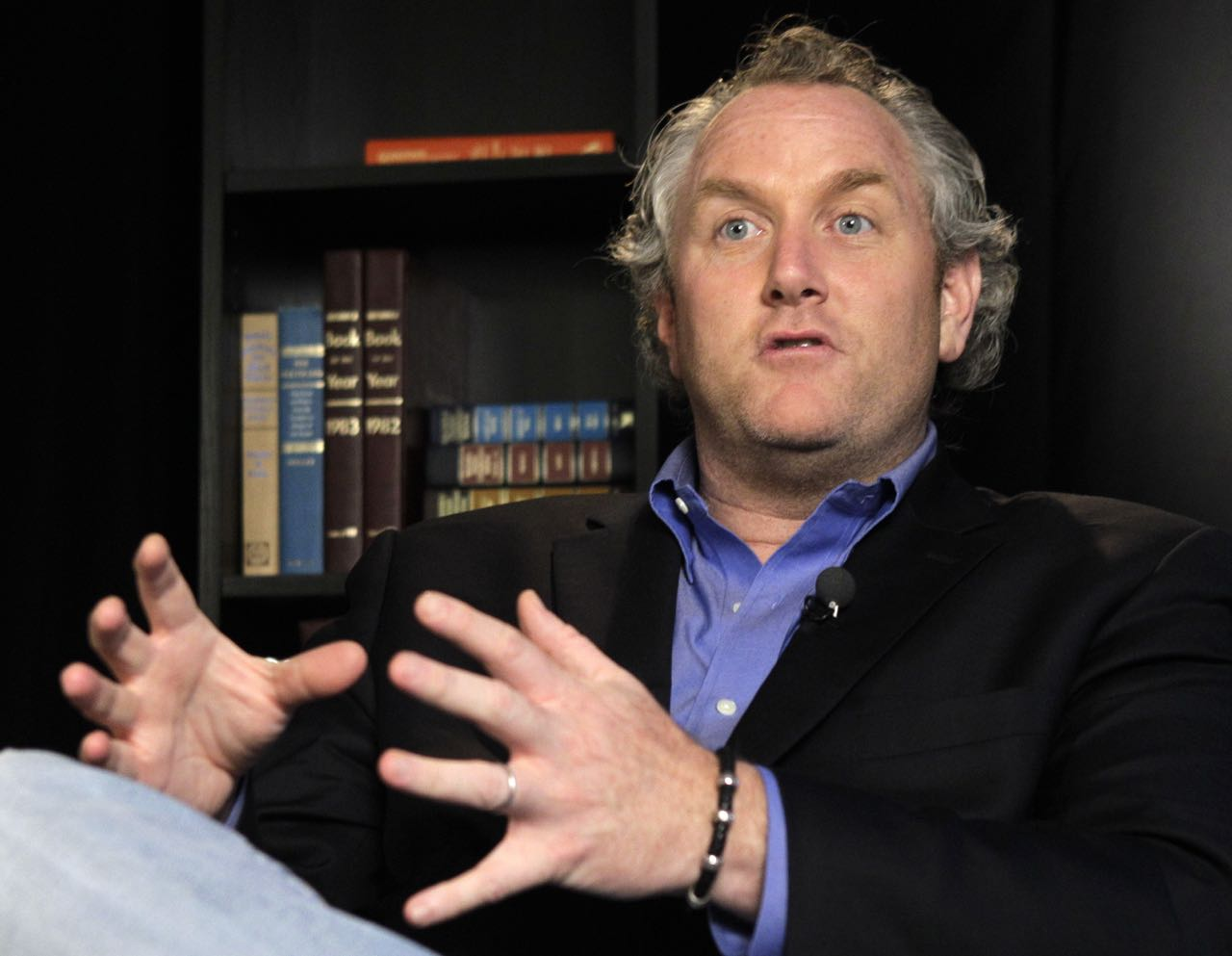 Conservative blogger Andrew Breitbart, the namesake of Breitbart News Network, gestures as he speaks during an interview at the Associated Press in New York, Tuesday, June 7, 2011. (AP Photo/Kathy Willens)