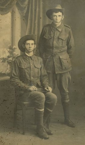 Pte John Adams (seated) - KIA 26/7 & Pte George Raphael Burnard Adams MM - survived - both 20th Btn