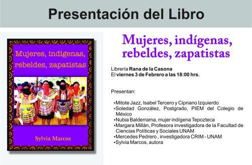 """Presentación del LIBRO """"MUJERES ,INDIGENAS,REBELDES,ZAPATISTAS"""""""