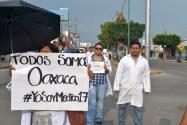 """""""Ya bastante sangre se derramó en Oaxaca. Ya basta de tanta privatización"""", Sector Salud Chiapas."""