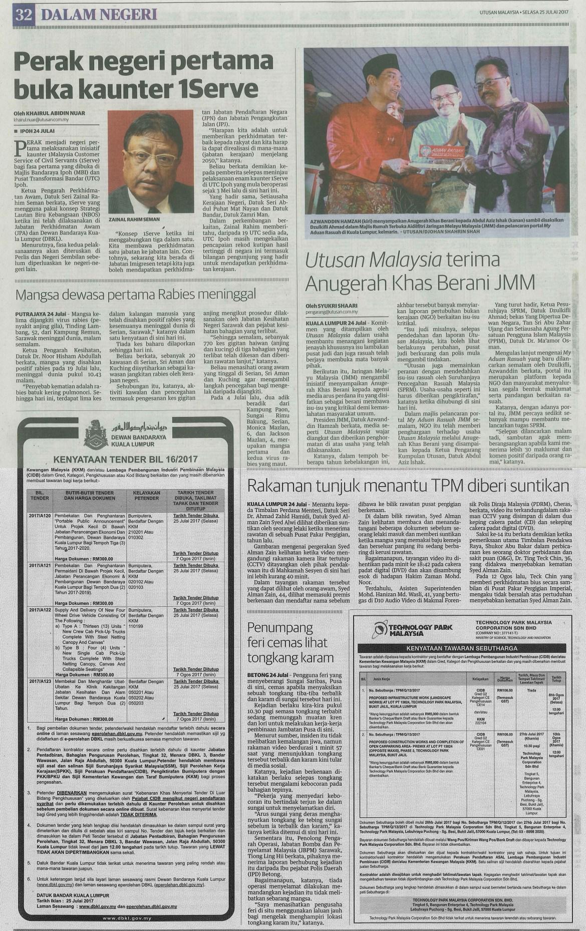 utusan malaysia 25.7.2017 2