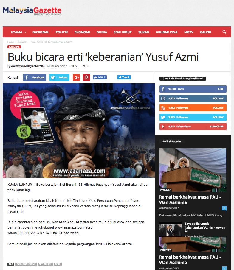 Buku bicara erti  keberanian  Yusuf Azmi   MalaysiaGazette