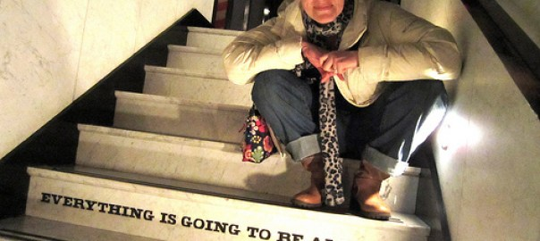 photo Gail Swanson on stairs