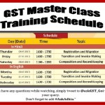 GST Master Class Training Session Schedule