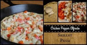 Chicken Pepper Alfredo Skillet Pizza