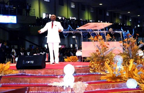 Bishop David Oyedepo ministering at Faith Tabernacle, Canan Land Otta