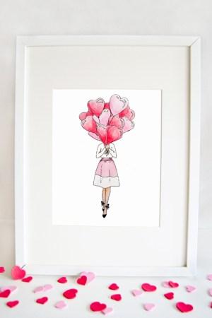 Balloon Heart Valentines Print