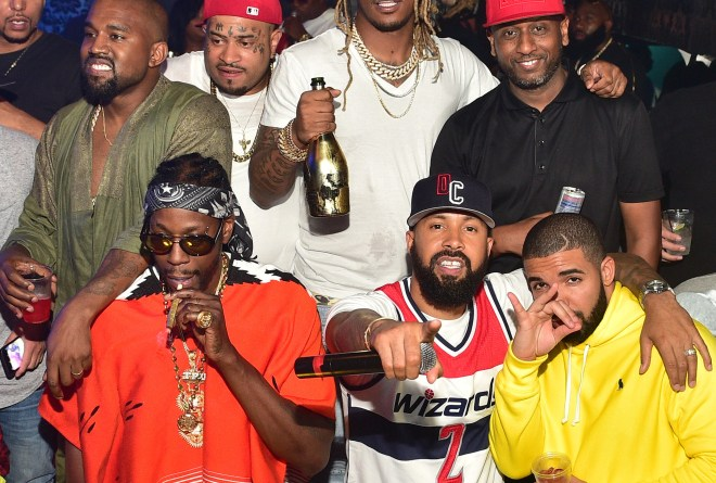 ATLANTA, GA - JUNE 20:  Kanye West, 2 Chainz, Future, Kenny Burns, Alex Gidewon and Drake attend at Compound on June 20, 2015 in Atlanta, Georgia.  (Photo by Prince Williams/WireImage)