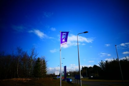 Our flags are dotted around our entrance of our car park