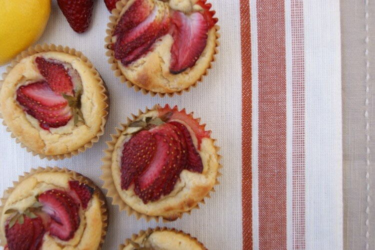 Easy Lemon Strawberry Muffins - grain free, gluten free and no need for zesting!