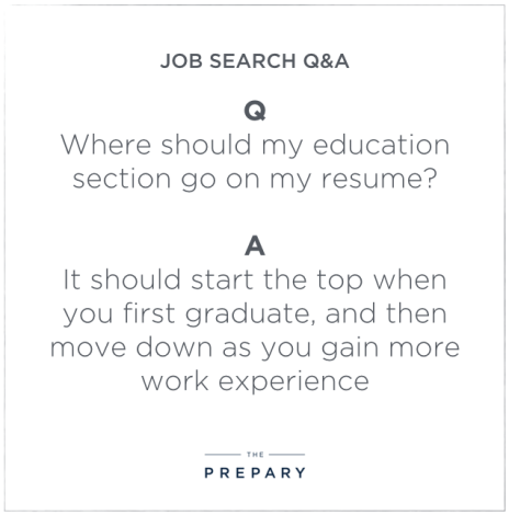 where to put your education section on a resume