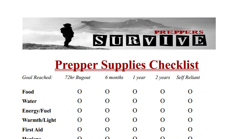 Prepper Supplies Checklist