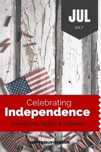 July Celebrating Independence - Prepper Calender