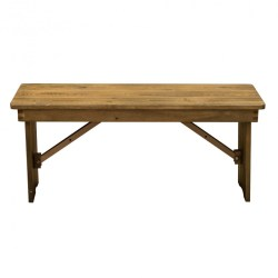 X 12 Pine Wood Farm Bench Folding Legs Rustic