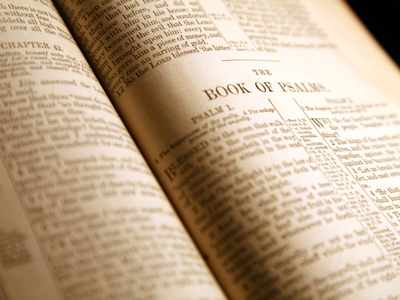 Holy Bible open to the book of Psalms