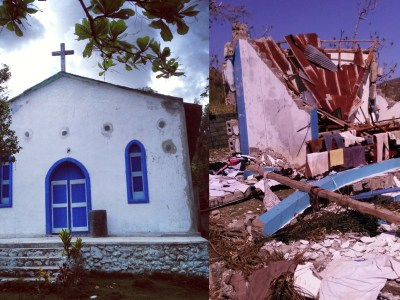 Notre Dame a Fatima Catholic Church in Buvet, Haiti, is a small mission church located next door to the KPGA building. Pictured before the storm in August 2013 and after. ('Before' photo by Cindy Corell. 'After' photo by Joseph Alliance, ActionAid Haiti)