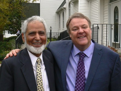Sayyid Syeed and Scott Prouty outside First Presbyterian Church in Redwood Falls, Minn. (Photo by Duane Sweep)