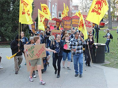 Coalition of Immokalee Workers and supporters demonstrate against Wendy's Restaurants in March on the campus of the University of Louisville. —Andrew Kang Bartlett