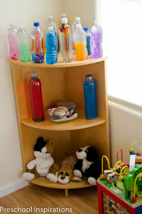 Calm down bottles in my quiet area for my preschool classroom.