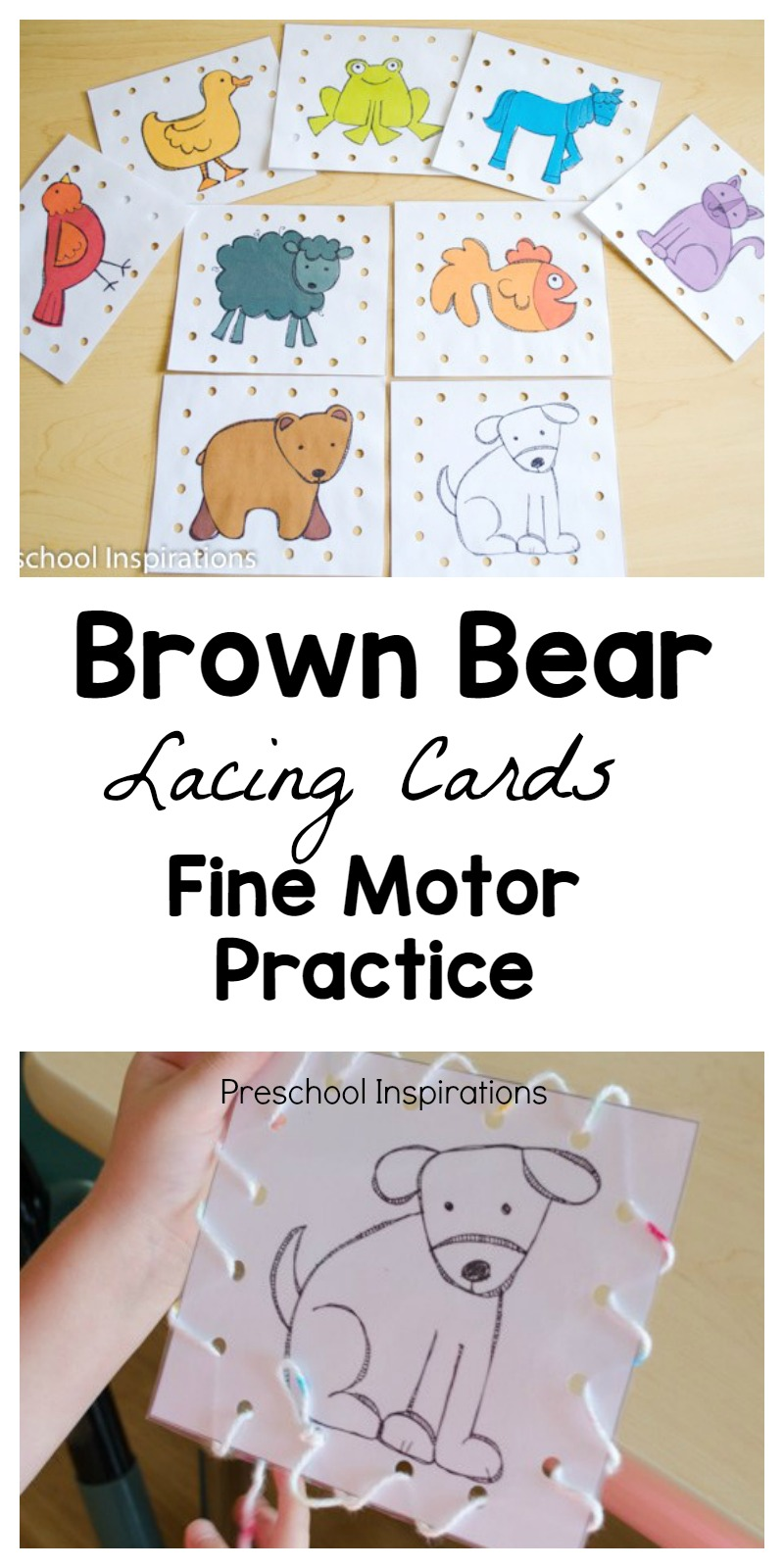 Practice important fine motor skills with these Brown Bear lacing cards.