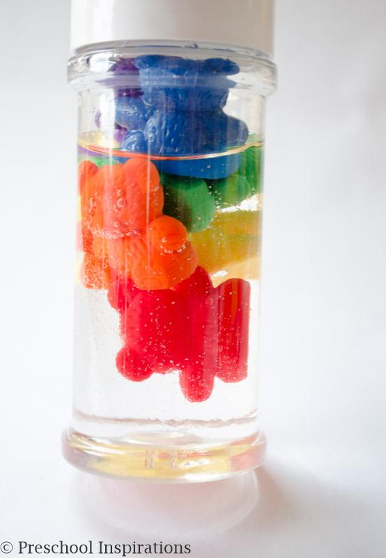 Rainbow Counting Bear Sensory Bottle by Preschool Inspirations