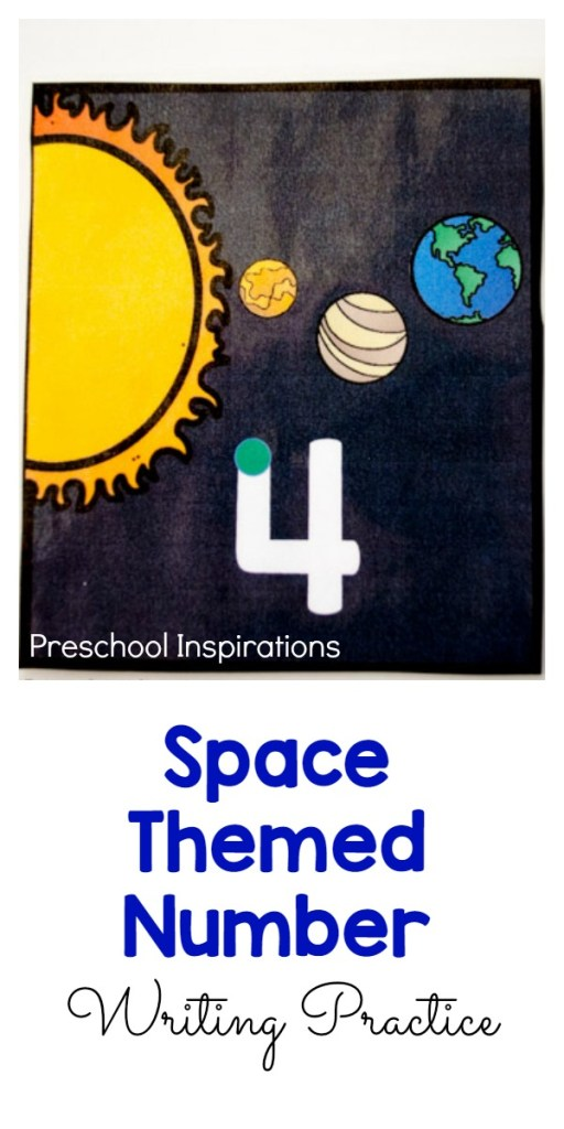 Space Themed Number Writing Practice - Preschool Inspirations