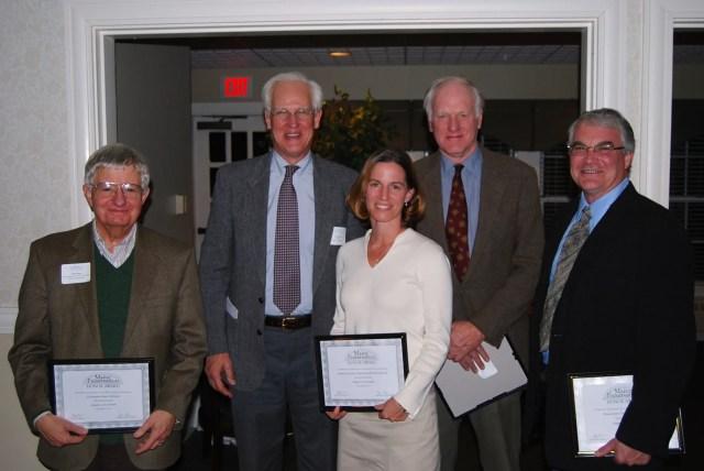 Chris Glass, Tony Grassi, Carmen Bombeke, Jay Fischer and Arron Sturgis accept a Maine Preservation Honor Award