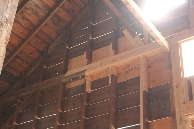 East gable tie beam fix, from inside.  Photo by Jessica MilNeil