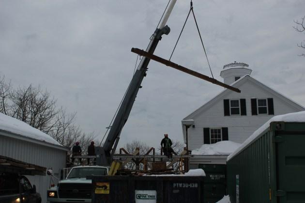 Crane removal of full-length plate