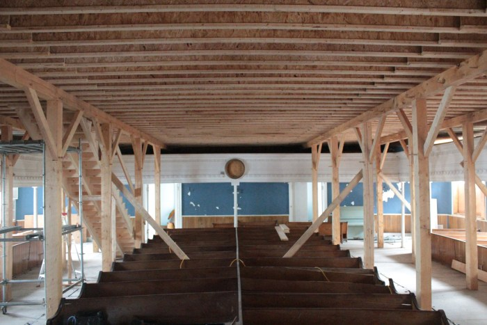 Timber frame floor, from below
