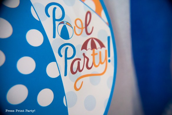 Pool Party Beach Ball Birthday Bash - Ideas and decorations by Press Print Party! Pool Party Banner