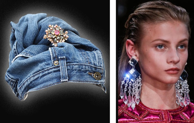 Balmain earrings and jean turban