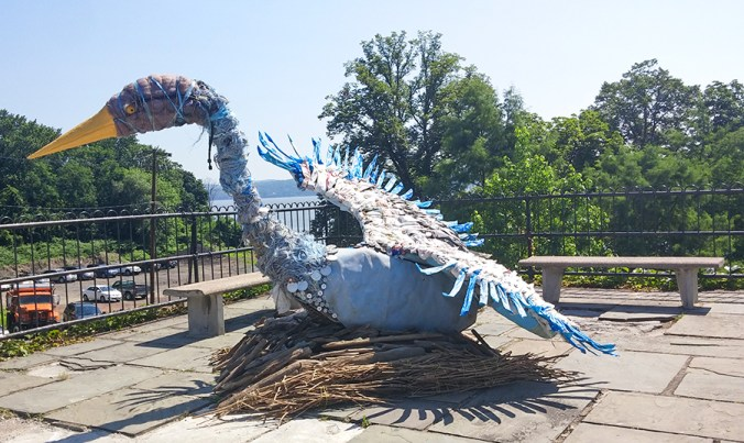 Heron made out of garbage from the Hudson River. DIY sculpture