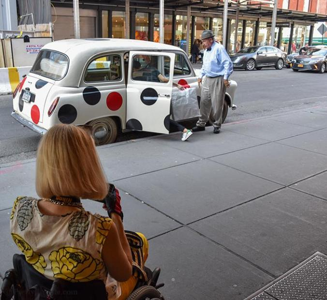 Car with polka dots in front of Scoop NYC, Meatpacking district