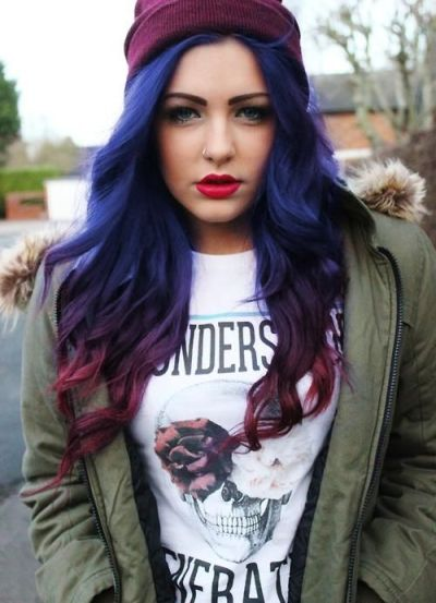 Blue and Purple Hairstyle