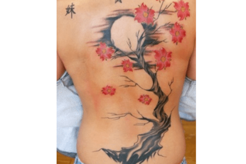 Moon and Cherry Blossom Tattoo