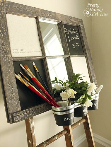 artist's inspiration chalkboard bulletin board window