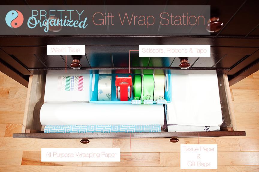Gift Wrap in a Drawer- PrettyOrganized.com
