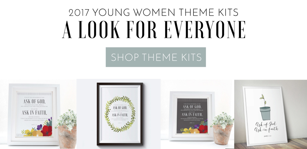 2017 Young Women Theme Kits | Grey Floral | Simple Sprout | Natural Wreath | Grey & White Floral | Prickly Pear Design Co.