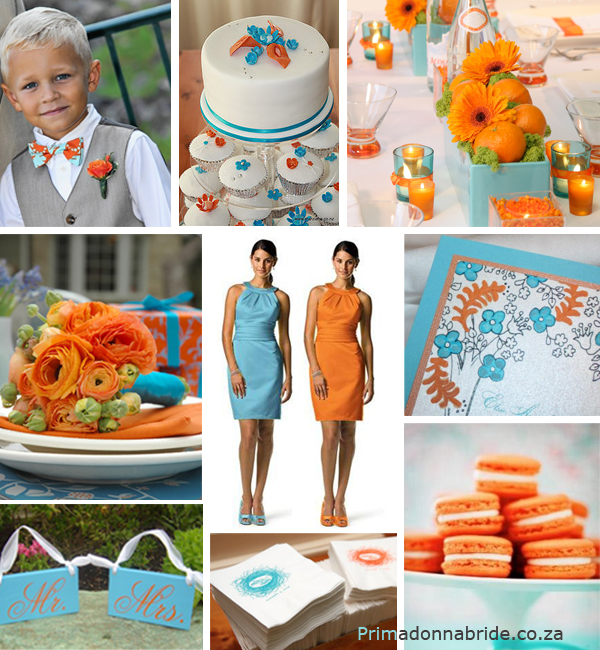 Orange and aqua wedding colours