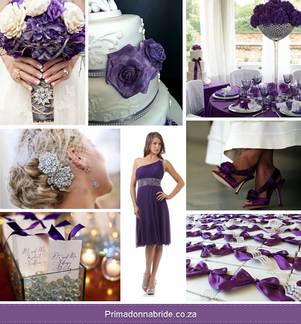 Purple white silver wedding colours
