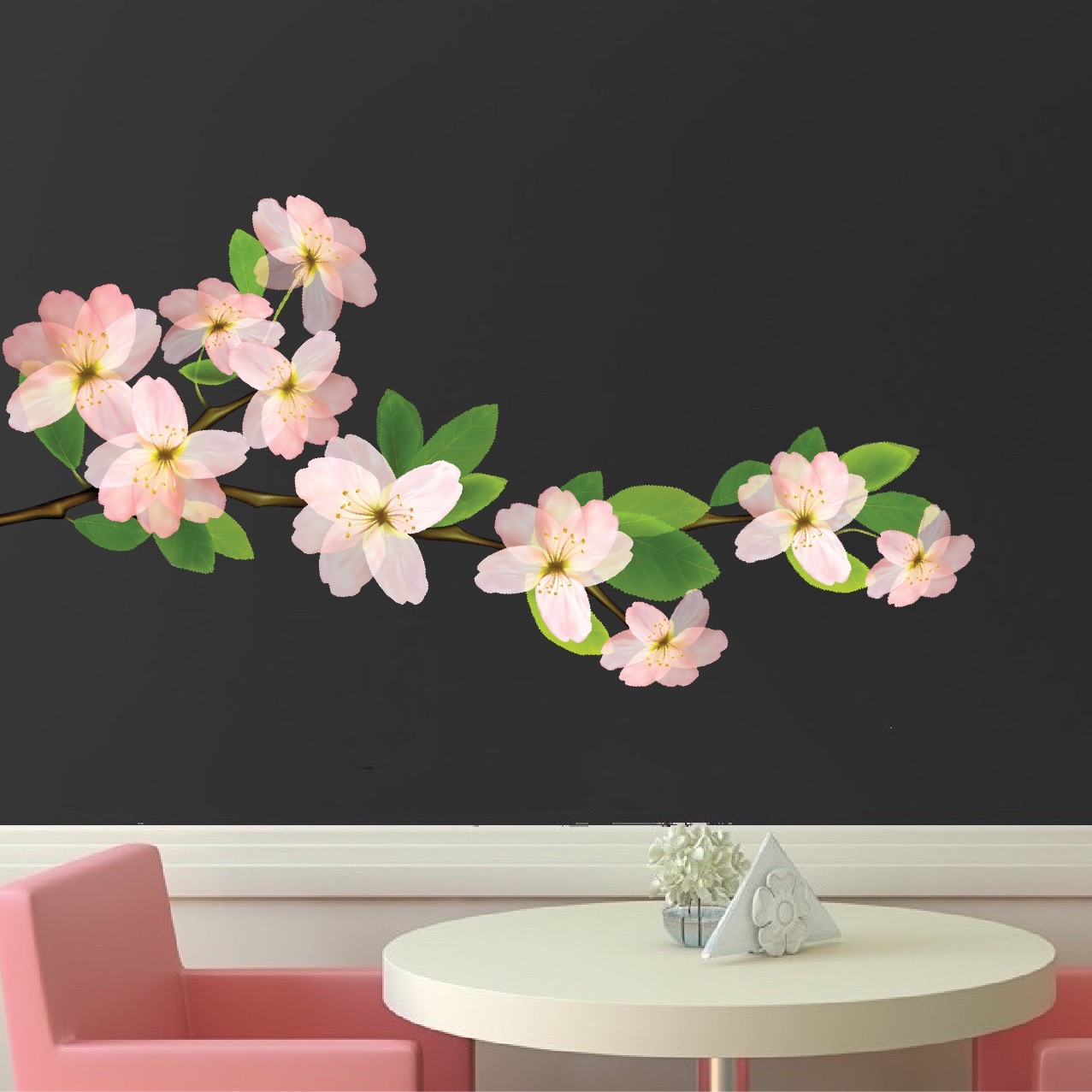 Noble Quick View Flower Branch Wall Decal Bedroom Cherry Blossom Wall Floral Wall Decals Appliques Flower Wall Decals Uk houzz-03 Flower Wall Decals