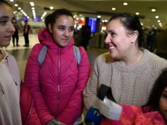 Llegada de la familia varada en Qatar