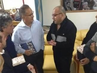 Alberto y Pablo Descalzo fueron recibidos en la sede de la UOM Morón por su titular, Sergio Souto.