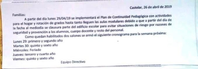 Plan de Continuidad Pedagógica: los directivos de la escuela emitieron una circular con el cronograma de la semana.